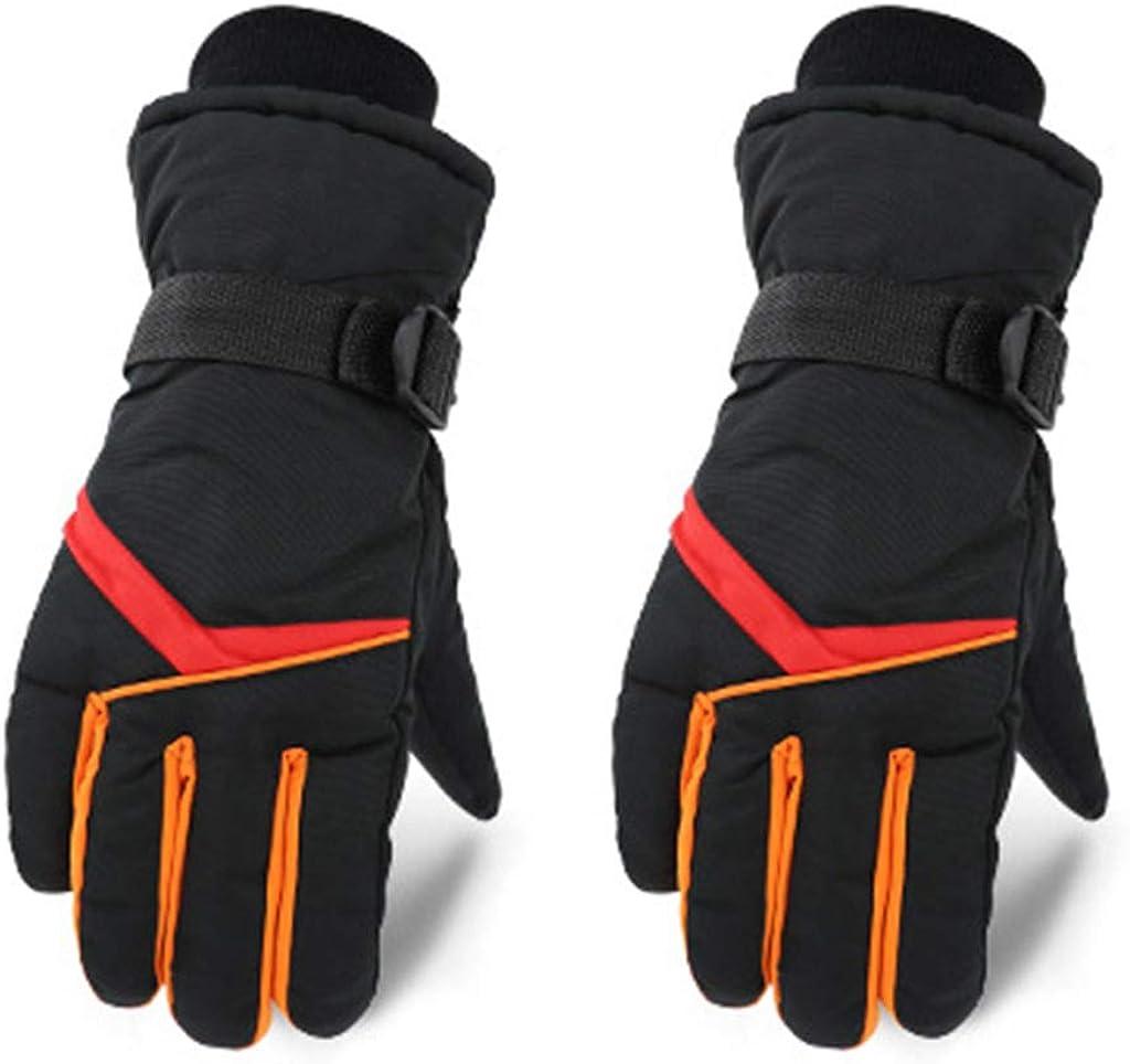 Dsxnklnd Men Winter Windproof Ski Gloves Contrast Color Stripes Waterproof Warm Mittens
