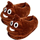 Dreampartydress Poop Poo Smiley Face Emoji Vatertag Geburtstag Poo Poop Emoji EIS Schokolade Schokolade Neuheit Plüsch Hausschuhe Jungen Mädchen Damen Herren Comfy (3/5 UK, Voller Rücken)