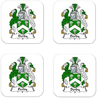 Derby Family Crest Square Coasters Coat of Arms Coasters - Set of 4