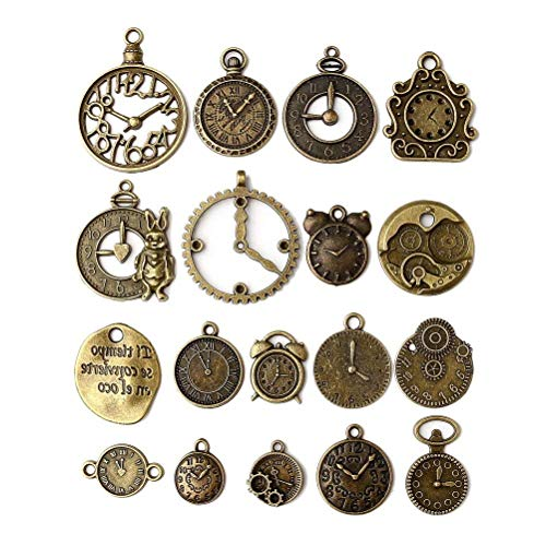 18 Pcs/set Clock Pendant Charms, Multicolored Mixed Antique Bronze Watch Gear Cog Wheel Charms Steampunk Clock Pendant DIY Jewelry Making Accessories