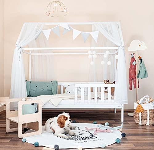 Alcube Hausbett 90x200 cm - stabiles Kinderbett mit Rausfallschutz und Lattenrost - weiß lackiertes Spielbett aus Kiefernholz für Jungen und Mädchen - Geeignet für Vorhänge und Himmeldekoration