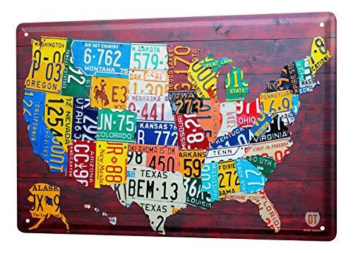 LEotiE SINCE 2004 Blechschild Dekoschild Küche Garage Welt Reise USA Nummernschilder