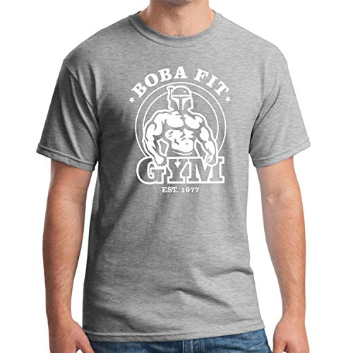 Boba Fit Boba Fett Star Wars Satire Jedi Gym Sayings Gift Funny Fun T-Shirt,Grey,XL