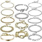 PANTIDE 14Pcs Gold&Silver Chain Bracelets Set Stackable Metal Links Adjustable Layered Cuban Chunky Boho Beads OT Toggle Paperclip Bangle Bracelets Fashion Jewelry Gifts for Women Girls