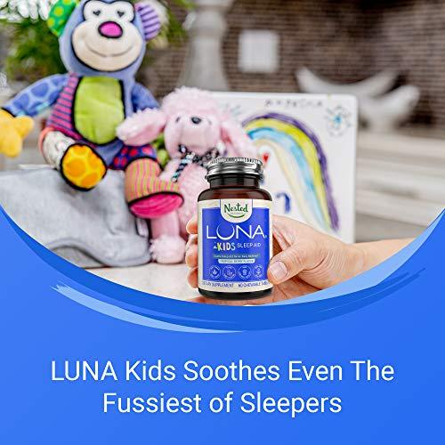 LUNA Kids   NEW LOOK   #1 Sleep Aid Tablets for Children & Sensitive Adults   Naturally Sourced Ingredients   Chewable Pills   Gentle Herbal Supplement with Chamomile, Melatonin, Valerian & Lemon Balm