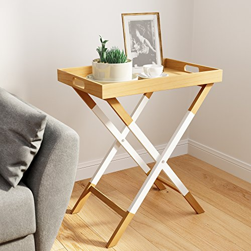 Universal Expert Remus Folding Tray Table, Oak/White