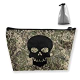 Black Skull Cosmetic Bags Portable Travel Toiletry Pouch Makeup Bag (Trapezoil)