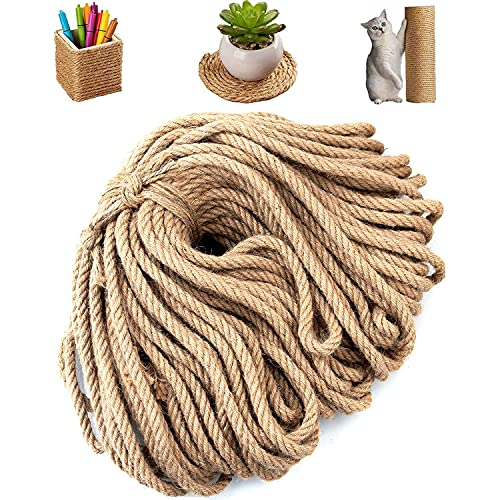 164 Ft x 10 MM Natural Jute Twine, Dveda 3/8'' Heavy Duty Jute Rope 4 Ply, Best Hemp Twine Rope for Gifts, Arts Crafts, DIY Decoration, Home Decoration, Bundling, Gardening Applications