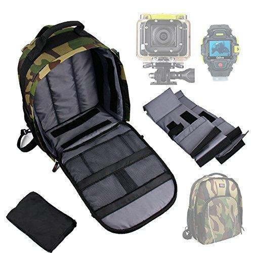 DURAGADGET Sac à Dos Vert Kaki Camouflage pour QILIVE Q.2507, Q.2655 et Q.2755 Caméra de Sport et Accessoires - Compartiments de Rangement + protège Pluie Bonus