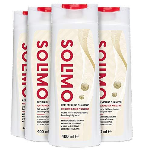 Amazon-Marke: Solimo Regenerierendes Shampoo für den Schutz von coloriertem Haar mit Keratin, UV-Filter und Proteinen- 4er-Pack (4 Flaschen x 400ml)