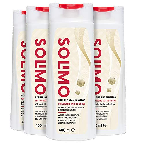 Amazon Brand - Solimo Replenishing Shampoo for Coloured Hair Protection With Keratin, UV Filter & Proteins- Pack of 4 (4 bottles x 400ml)