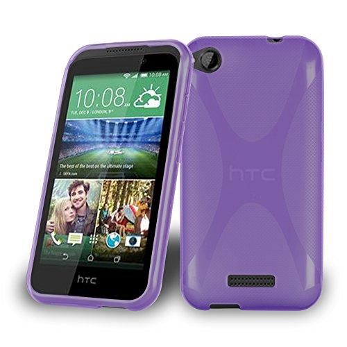 Cadorabo Hülle für HTC Desire 320 - Hülle in Flieder VIOLETT – Handyhülle aus flexiblem TPU Silikon im X-Line Design - Silikonhülle Schutzhülle Soft Back Cover Case Bumper