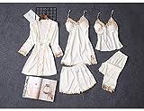 YUHOOE Damen Nachtwäsche Set,5Pcs Sexy Silk Satin Pyjamas Set Frauen Spitze Robe Pyjamas Langarm Hose Nachthemd Damen Dessous Nachtwäsche Für Home Wear Weiß, M.