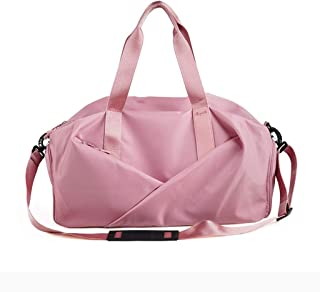 Women Portable Duffle Bag, Foldable Travel Bag, Gym Luggage Bag, with Adjustable Shoulder Strap, Overnight Camping, Waterproof and Tear Resistant (Color : Pink)