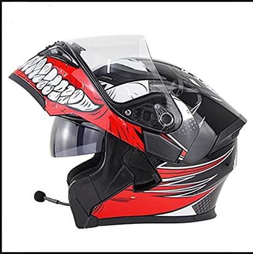 NBMNN Motorcycle Bluetooth Helmet,Flip up Full Face Motocross Helmet,Dual Visor Modular Bluetooth Helmet,Mp3 FM Intercom for Adults Men Women,ECE Approved Helmet E,M=55~56CM