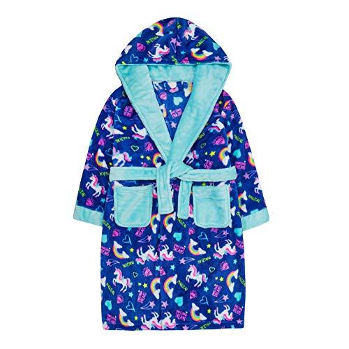 Albornoz con capucha para niñas de Lora Dora con unicornio arcoíris con diseño de arcoíris Azul azul 5-6 Años