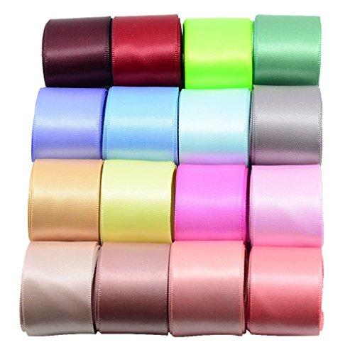 16 Farbiges Set Doppelseitiges Satinband Grosgrain Bändern Geschenk Bänder 25mm