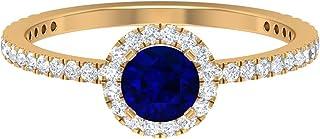 Anillo de zafiro azul de corte redondo de 5,00 mm, anillo de halo de moissanita D-VSSI, anillo de compromiso de piedra lat...
