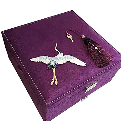 XXSHN Jewelry Organizer Box - Women Display Storage CaseHolder with Lock for Earring Ring Necklace Bracelet, Pink