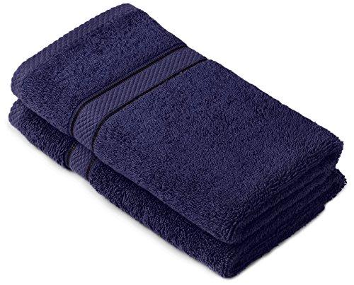 Pinzon by Amazon Handtuchset aus Baumwolle, marineblau, 2 Handtücher, 600g/m²