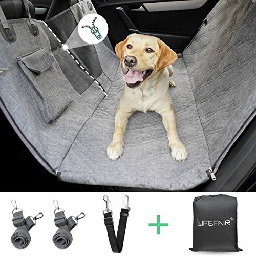 LIFEFAIR Back Seat Covers for Dogs, 100% Waterproof Dog Car Seat Cover with Mesh Window, Scratch Proof Nonslip Car Dog Hammock, Car Seat Covers for...