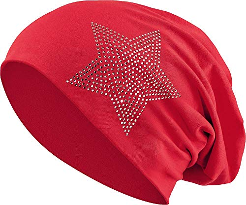 Jersey Baumwolle elastisches Long Slouch Beanie Unisex Herren Damen mit Strass Stern Steinen Mütze Heather in 35 (2) (Dark Red)