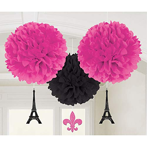 amscan 180185 Fluffy-Dekobälle mit Anhänger A Day In Paris, pink & schwarz