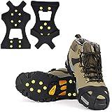 ORCCAC Agarres para Nieve sobre Zapatos/Botas 10 Tacos Tracción sobre Hielo Universal Slip on Stretch Fit Nieve y Hielo, Tacos de Nieve Crampones Picos de Hielo Puños de Nieve para Invierno(2 Pares)
