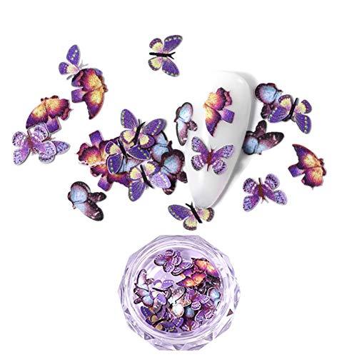 Ymlove 3D Schmetterling Nail Art Glitter Pailletten, Schmetterling Nail Pailletten Acryl Pailletten, Holographic Nail Sparkle Glitter Sheets Tipps für Nail Art Dekorationen (50PCS / Pot)