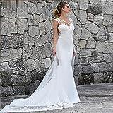 KUANGQIANWEI Vestido de Novia con Encaje Vestido de Novia de Gran tamaño de la Boda del Applique del cordón Vestido de Novia con Cola (Color : Blanco, Talla EEUU : 12)