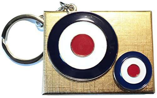 RAF Target Rondell SCOOTERIST Badge & Schlüsselring Mod Metall Emaille Set
