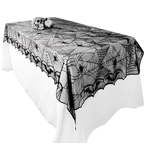 Awtlife, Tischdecke mit Spinnennetz-Design, Gothic-Stil, für Halloween / Party-Dekoration, 122 x 244 cm