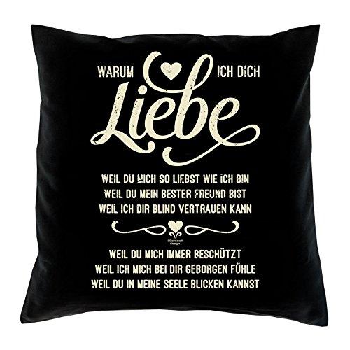Soreso Design Warum ich Dich Liebe Kissen inkl. Füllung Romantische Geschenkidee für Verliebte Geschenk für Frauen und Männer Liebe Liebesbeweis Liebeskissen (schwarz)