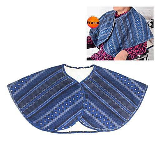 ASZX Mantón abrigado para Silla de Ruedas, Mantas de Hombro para Cuidado de Ancianos en Cama, Capa Gruesa cómoda de Invierno para Hombres y Mujeres,Azul