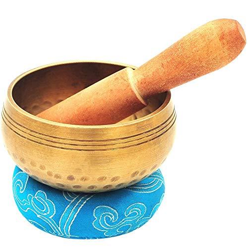 ¿Paño de mano hecho a mano, tamaño grande? Juego de cuencos para yoga y meditación tibetana de 3,2 pulgadas, de tibetano - su primer juego de cuencos de yoga