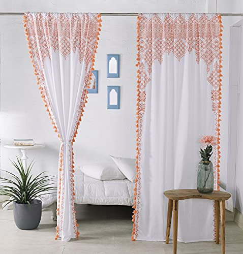 """Madhu International Decorative Tassel Curtains – Set of 2 Panels Farmhouse Boho Style Sheer Curtain Drapes – Cotton Curtain With Rod Pocket Window Treatment For Living Dining Room (41""""x87"""", Rose Gold)"""