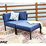 LOKATSE HOME 2 Piece Patio Sectional Furniture Set Outdoor Armchair Corner Sofa with Ottoman, 2Pcs-1, Blue Cushions