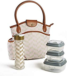 Fit & Fresh Insulated Lunch Bag Kit, includes BPA-Free Container Set, Sumter Pink Thin Stripe