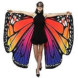 WEXCV Damen Schmetterling Flügel Doppelseitig Cape Schal Poncho Schal Wrap Pixie Ladies Karneval...