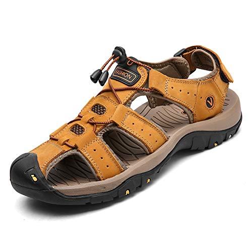 Uomini sandali in pelle antiscivolo piatta confortevole Peep Toe Lace up acqua spiaggia scarpe uomo estate usura resistente traspirante sandalo