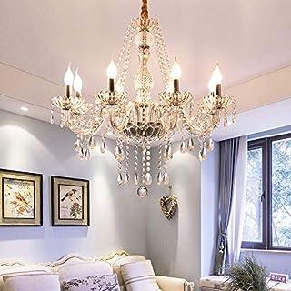 Samger Samger Lujoso Araña de 8 brazos K5 Cristal transparente Vidrio plata Color transparente Lámpara de techo Lámpara de techo para Vivo Habitación Habitación Pasillo Entrada