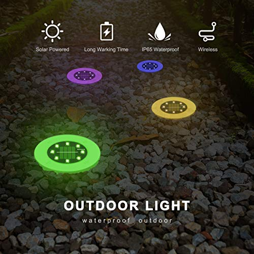 Solar Ground Lights Outdoor 4 Pack, 8 LED Colored Solar Disk Garden Lights Waterproof Inground Landscape Lighting for Yard Deck Lawn Patio Pathway Walkway Driveway with Multiple Changing Colors