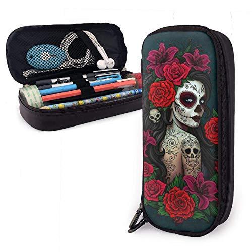 Bolsa de lápices Estuche de lápices Cráneo gótico Chica Capacidad de arte Estudiantes Papelería Bolsa Porta lápices Organizador de escritorio