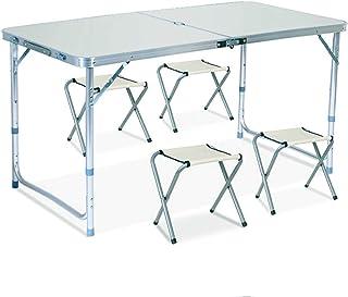 VeroMan 折りたたみ 収納式 アウトドア テーブル ベンチ セット パラソル穴付き キャンプ バーベキュー アルミ製 4人用