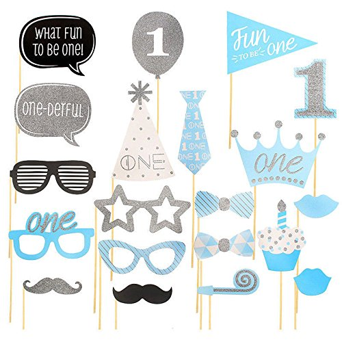 Warm Smile 20X Boy 1st Birthday Photo Booth Props Blue Baby Show First Party Decoration DIY Amazoncouk Toys Games