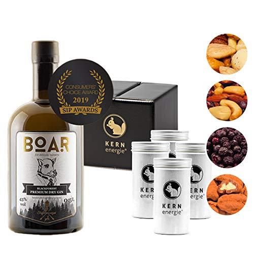 Boar Gin Geschenkset | Boar Dry Gin mit Heidelbeeren und Premium Nüssen von KERNenergie als edles Gin-Set