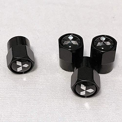 GZ RuiLiPu 4PCS Auto Accessories Wheel Tire Parts Valve Stem Caps Cover For Mitsubishi ASX Lancer Pajero Outlander LOGO car styling (for mitsubishi, black)