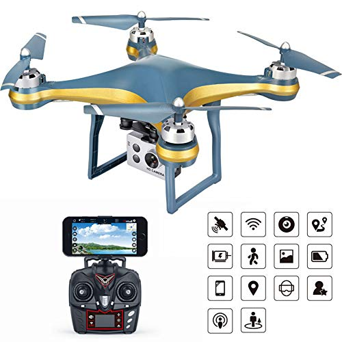 XIAOKEKE GPS Drone with 1080P FPV HD Camera for Adults, RC Quadcopter, Gesture Control, Altitude Hold, Headless Mode, 3D Flips, Long Flight Time 20Mins, Best Gift,Gold