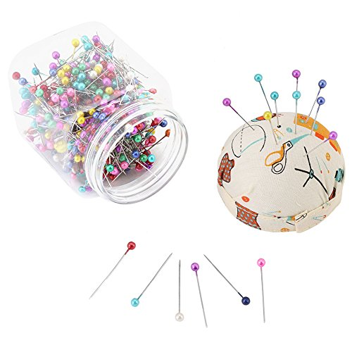 500 piezas de alfileres de costura, alfileres de cabeza de bola multicolor con alfileres de alfiler, alfileres de acolchado rectos para decoración de joyería de modista