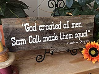 Iliogine Home Decorative Wood Sign Western Sign Cowboy Quote Sign Barn Western Rustic Decor Country Decor God Created Man Sam Colt Made Them Equal Plaque with Sayings